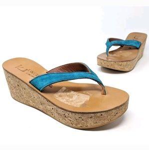 K Jacques St Tropez Cork Wedges Sandals Blue for sale